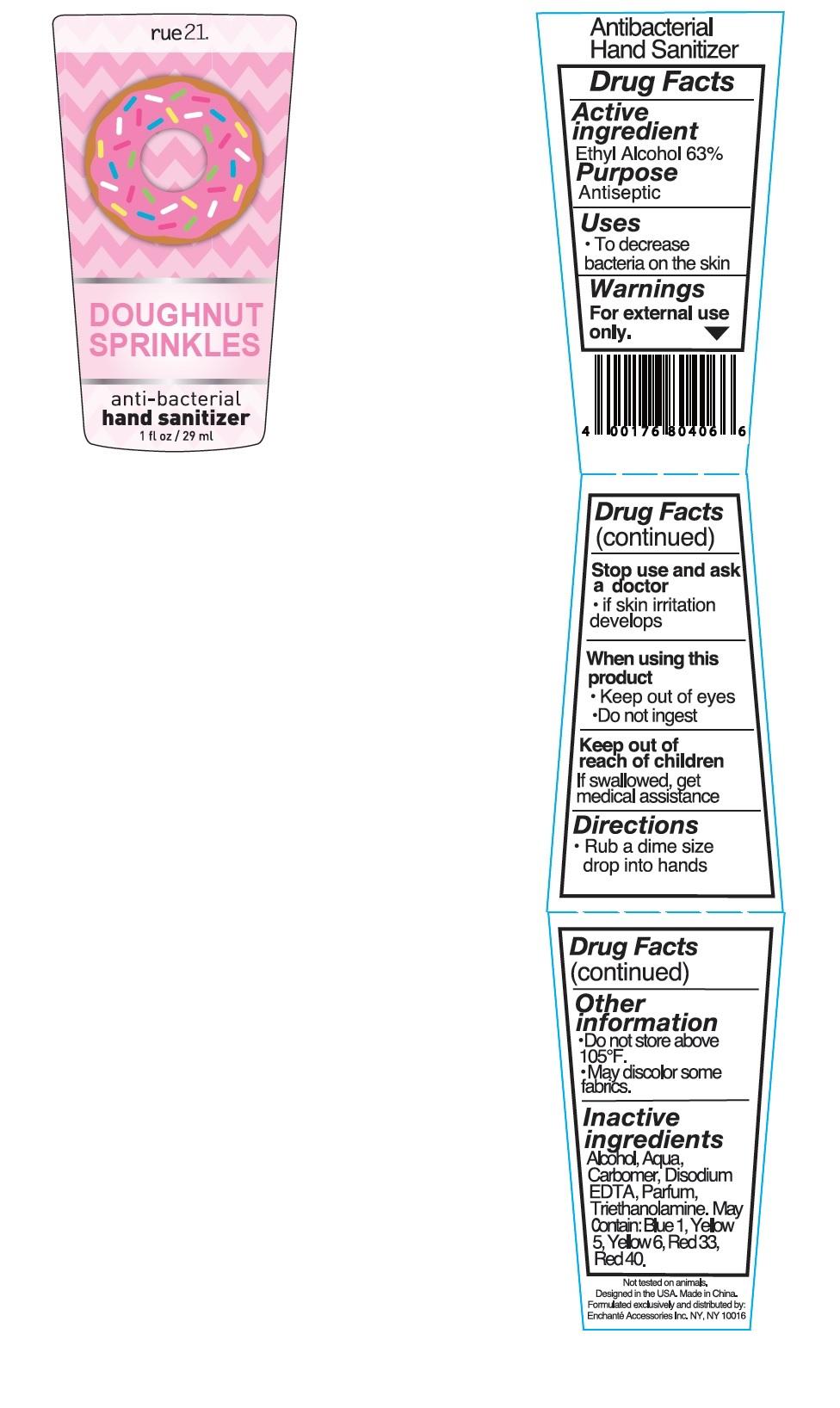 Rue21 Doughnut Sprinkles Antibacterial Hand Sanitizer (Alcohol) Liquid [Enchante Accessories Inc. ]