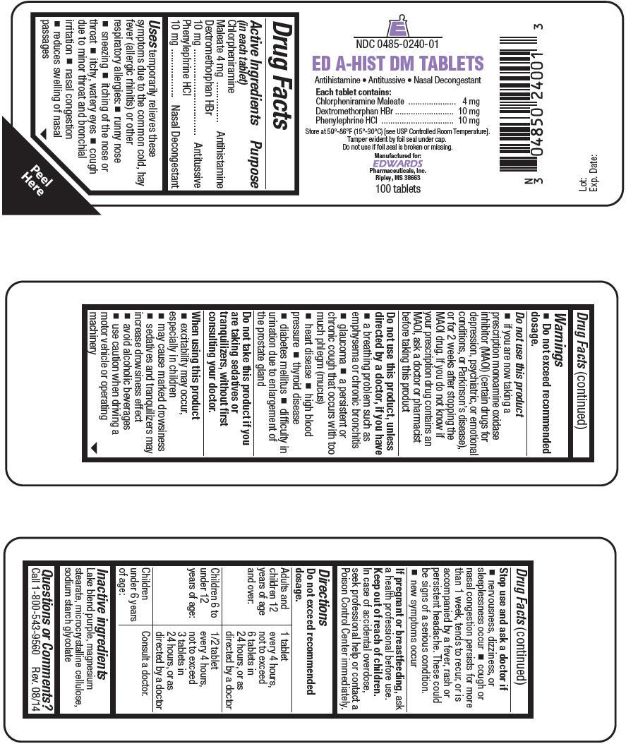Ed-a-hist Dm (Chlorpheniramine Maleate, Dextromethorphan Hydrobromide, And Phenylephrine Hydrochloride) Tablet, Coated [Edwards Pharmaceuticals, Inc.]