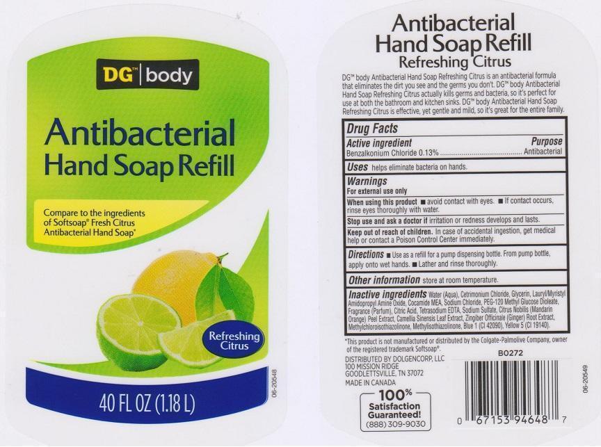 Dg Body Refreshing Citrus (Benzalkonium Chloride) Liquid [Dolgencorp Inc]