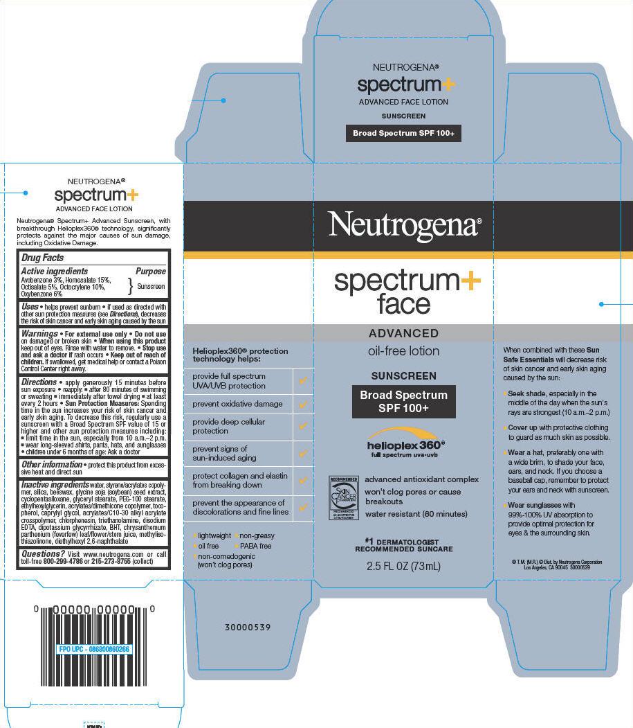Neutrogena Spectrum Plus Face Advanced Oil Free Sunscreen Broad Spectrum Spf100 Plus (Avobenzone, Homosalate, Octisalate, Octocrylene, And Oxybenzone) Lotion [Neutrogena Corporation]