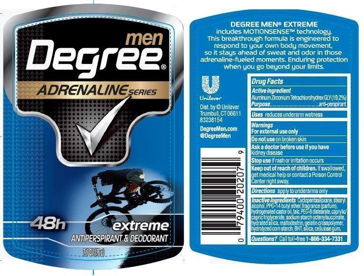 Degree Adrenaline Extreme Antiperspirant Deodorant (Aluminum Zirconium Tetrachlorohydrex Gly) Stick [Conopco Inc. D/b/a Unilever]