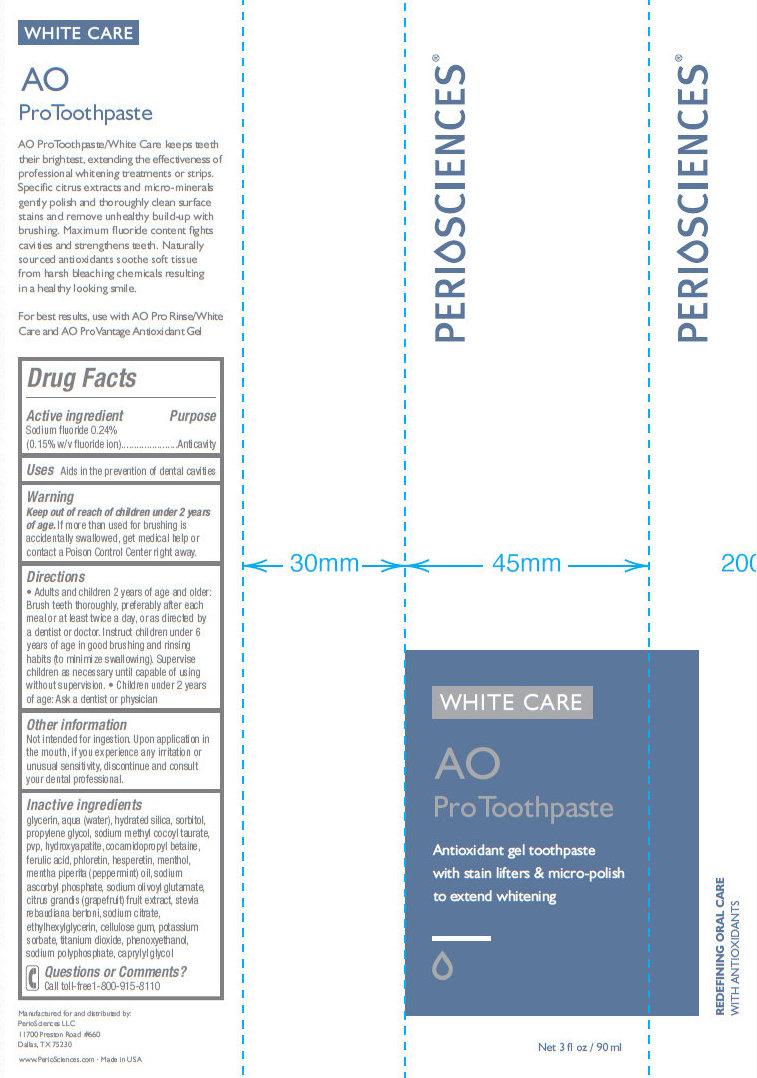 Periosciences White Care Ao Pro (Sodium Fluoride) Paste, Dentifrice [Periosciences Llc]