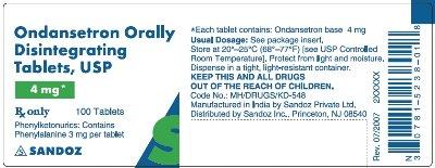 ondansetron 4 mg 100s
