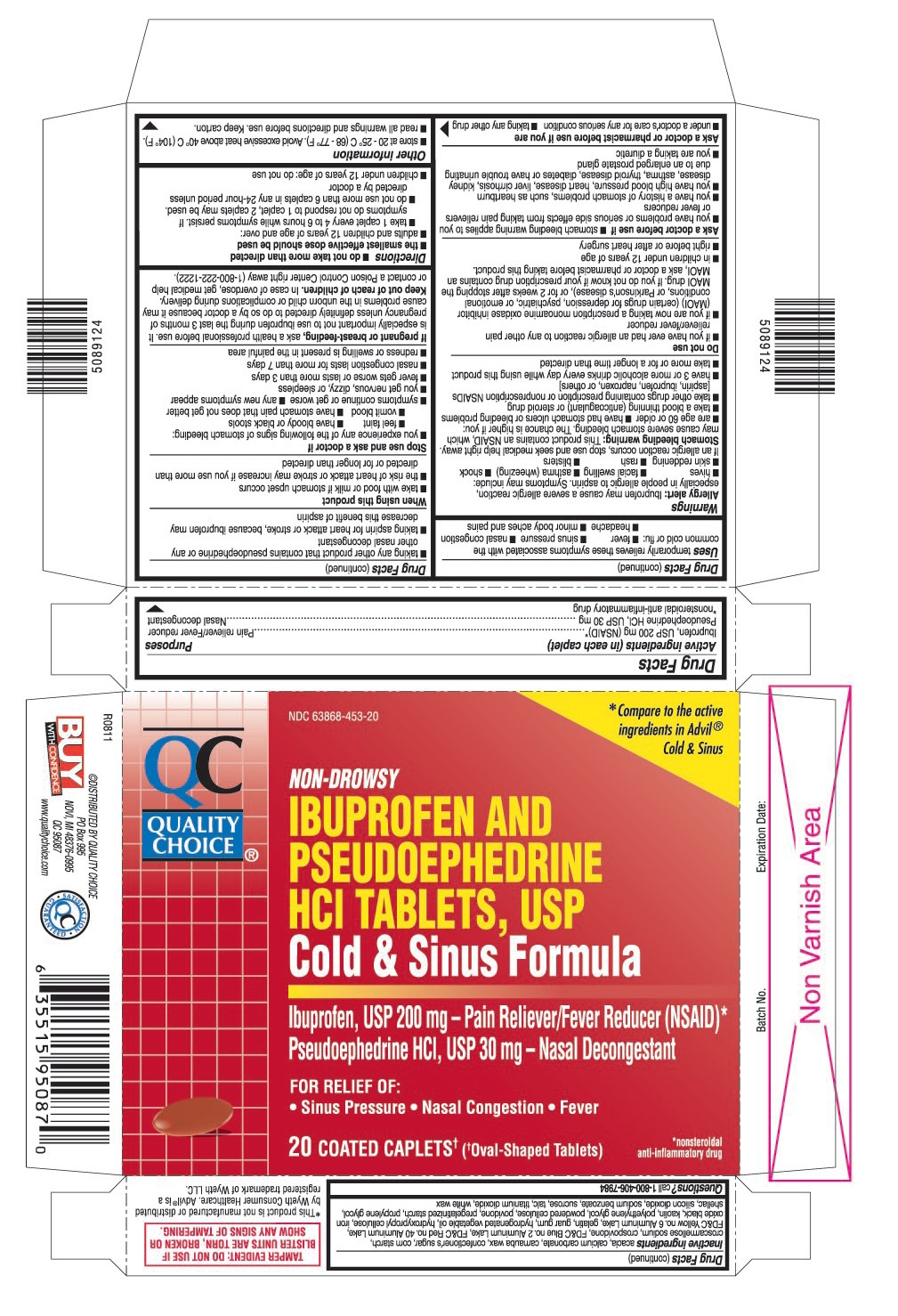 This is the 20 count blister carton label for Quality Choice Ibuprofen and Pseudoephedrine HCl Tablets, USP.