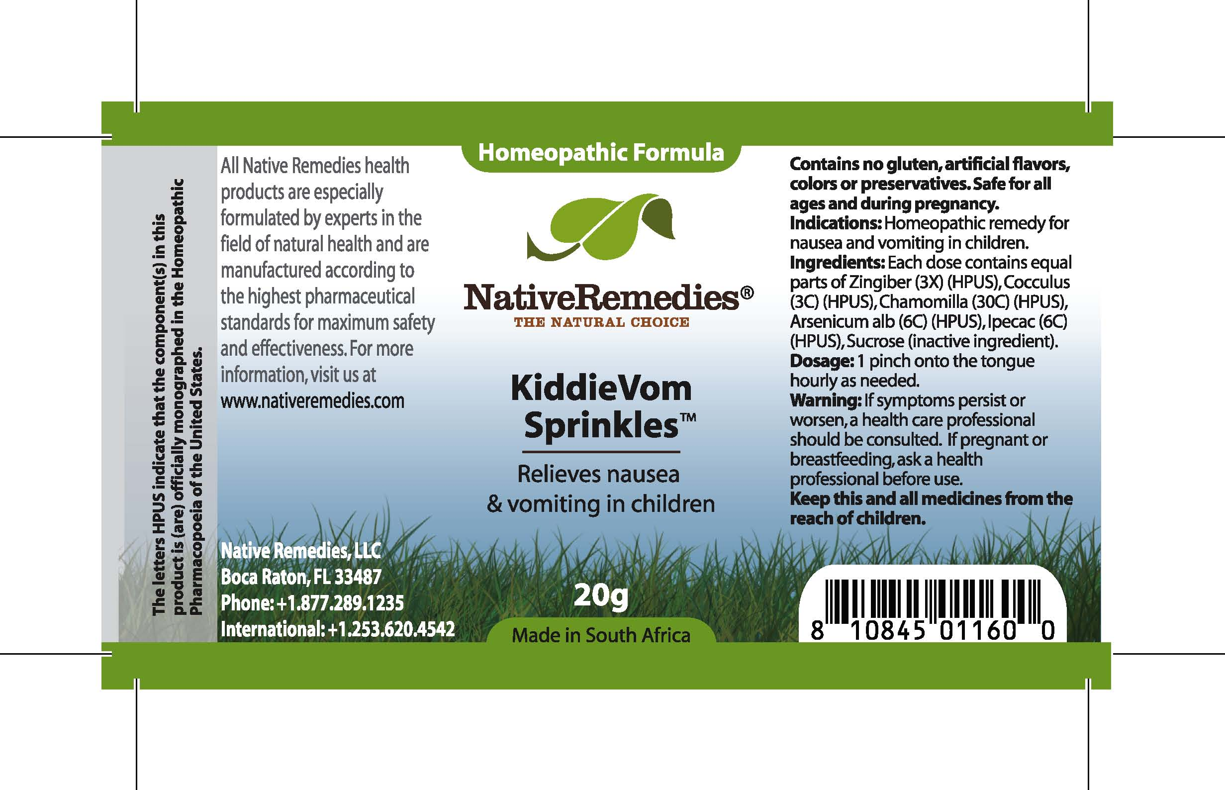 Kiddievom (Zingiber, Cocculus, Chamomilla , Arsenicum Alb , Ipecac , Sucrose ) Granule [Feelgood Health]