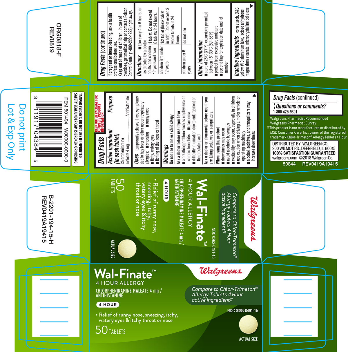 Wal-finite (Chlorpheniramine Maleate) Tablet [Walgreen Co.]