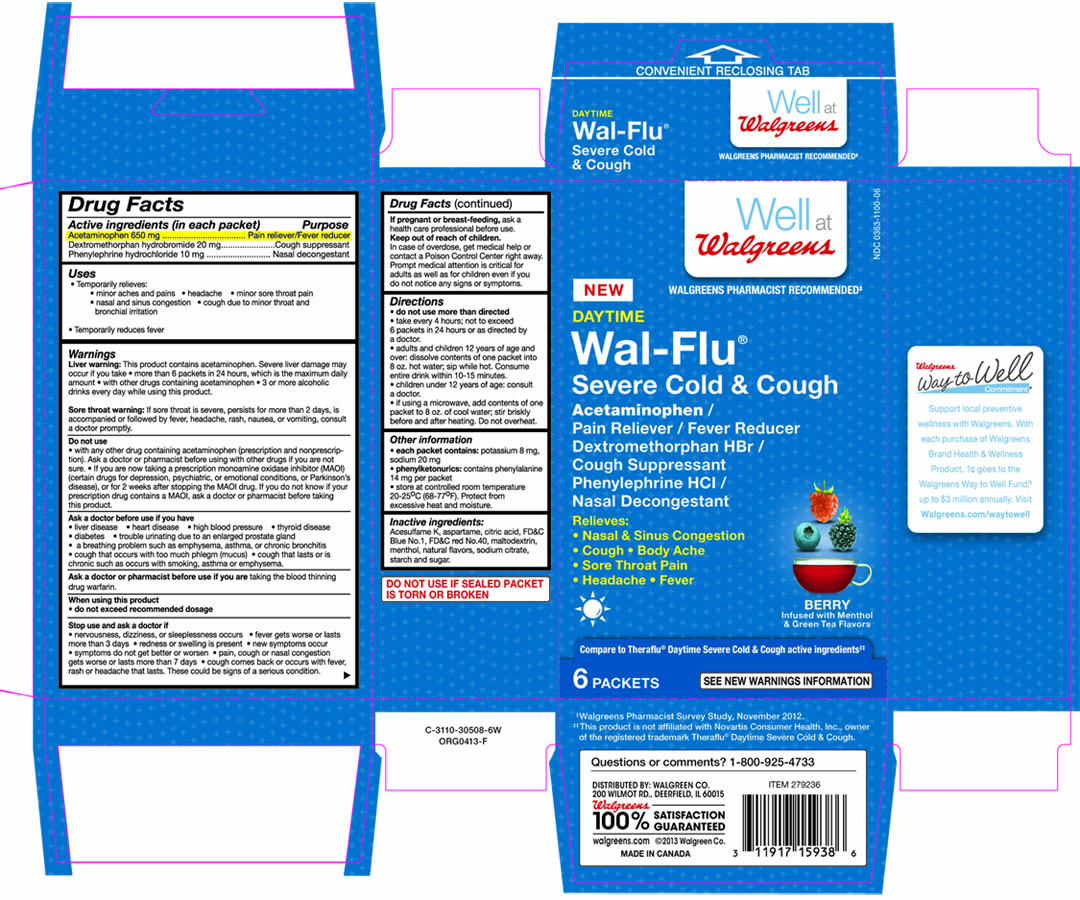 Walgreens Daytime Wal-flu Severe Cold And Cough Berry Infused With Menthol And Green Tea Flavors (Acetaminophen, Dextromethorphan Hbr And Phenylephrine Hcl) Granule, For Solution [Walgreen Co.]
