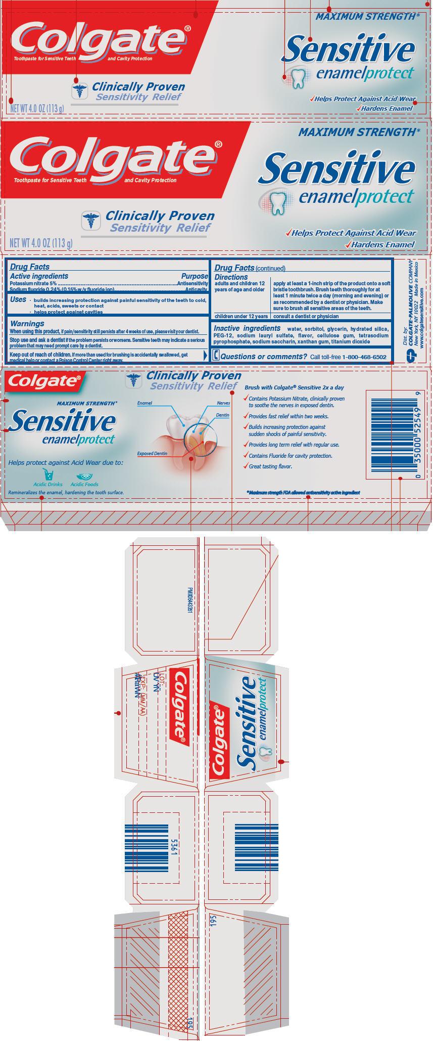 Colgate Sensitive Enamel Protect (Sodium Fluoride And Potassium Nitrate) Paste, Dentifrice [Mission Hills S.a De C.v]