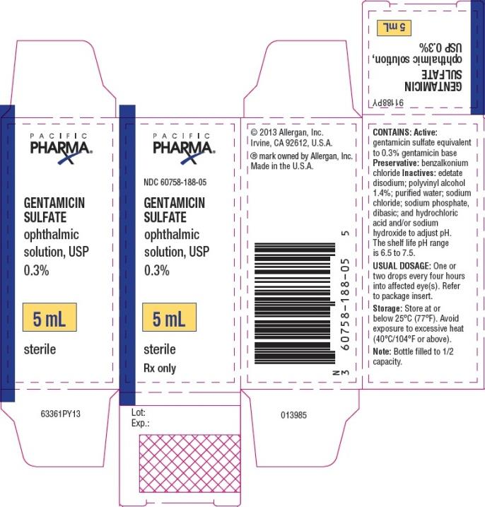 PRINCIPAL DISPLAY PANEL NDC 60758-188-05 GENTAMICIN  SULFATE ophthalmic  solution, USP  0.3% 5 mL sterile Rx Only