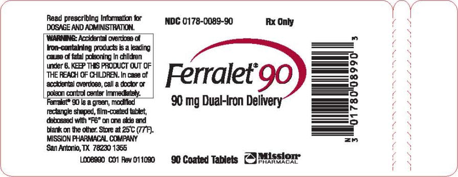 PRINCIPAL DISPLAY PANEL - 90 mg Tablet Bottle Label