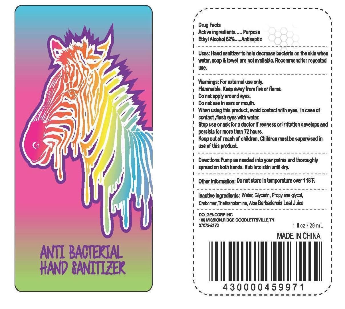 Anti Bacterial Hand Sanitizer (Ethyl Alcohol) Gel [Dolgencorp Inc]