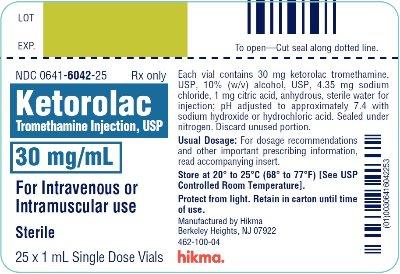 Ketorolac Tromethamine Injection, USP 30 mg/mL 25 x 1 mL Single Dose Vials