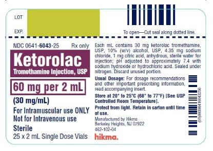Ketorolac Tromethamine Injection, USP 60 mg/2 mL (30 mg/mL) 25 x 2 mL Single Dose Vials