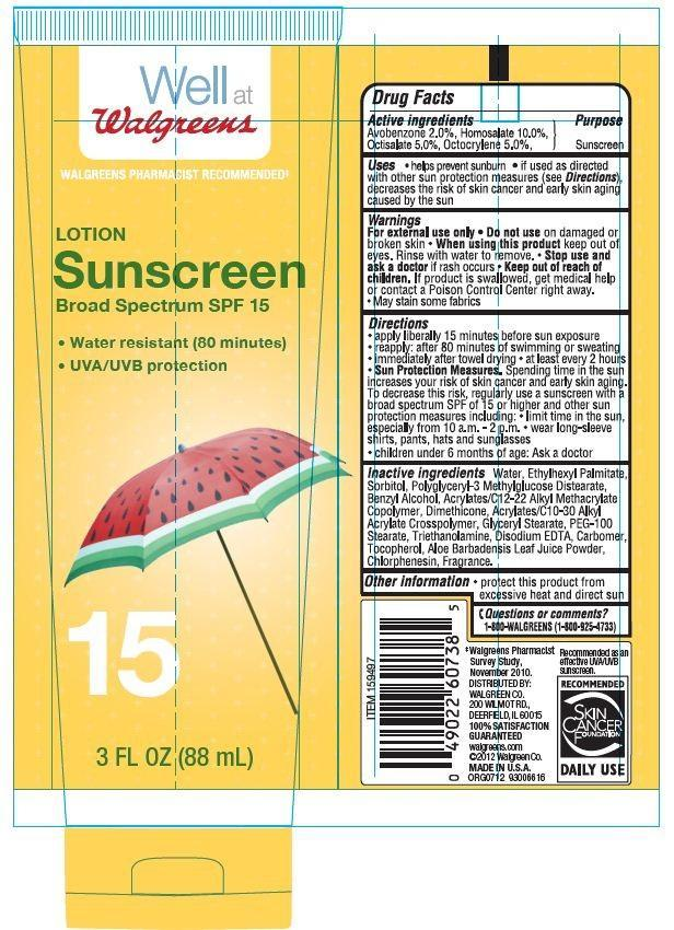 Walgreens Sunscreen Broad Spectrum Spf 15 (Avobenzone, Homosalate, Octisalate, Octocrylene) Lotion [Walgreen Co.]
