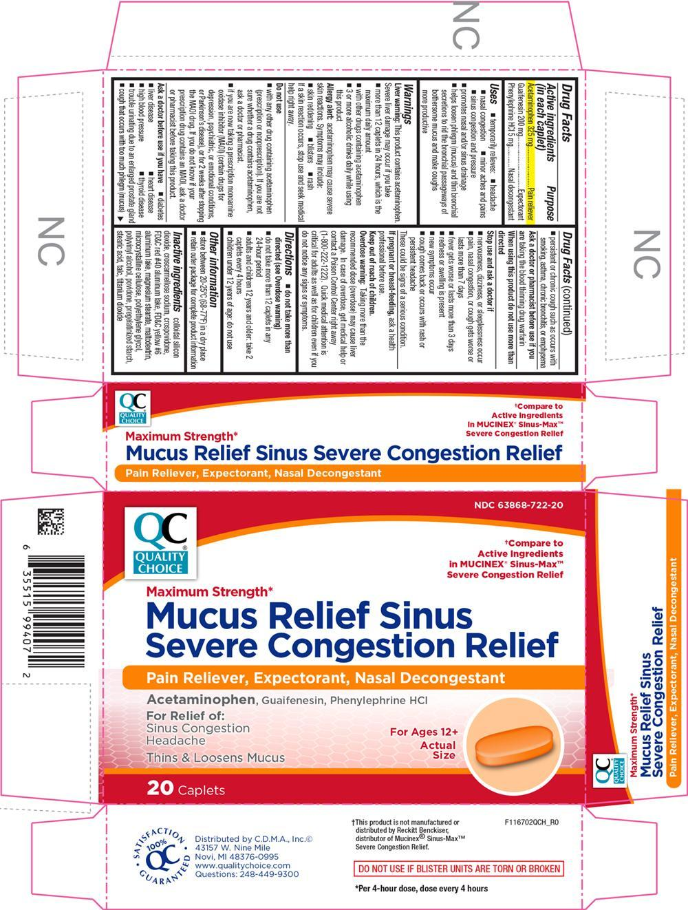 Mucus Relief Sinus Severe Congestion Relief (Acetaminophen, Guaifenesin, And Phenylephrine Hydrochloride) Tablet, Coated [Chain Drug Marketing Association]