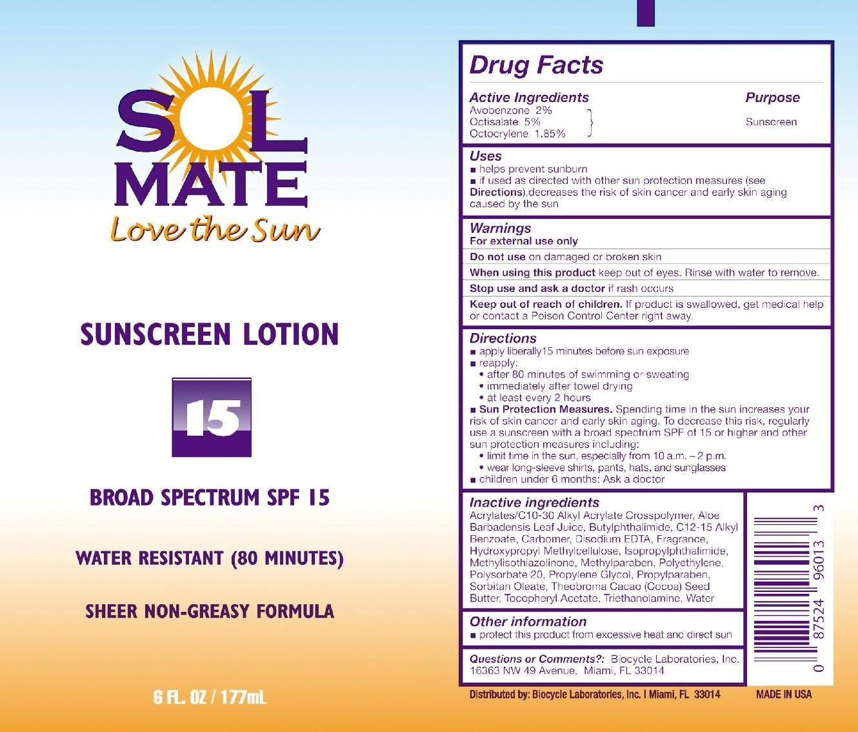 Solmate Broad Spectrum Spf 15 (Avobenzone, Octisalate, And Octocrylene) Lotion [Prime Enterprises, Inc.]