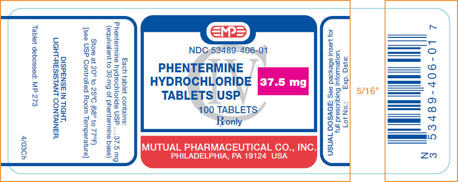 Phentermine Hydrochloride Tablet [Mutual Pharmaceutical Company, Inc.]