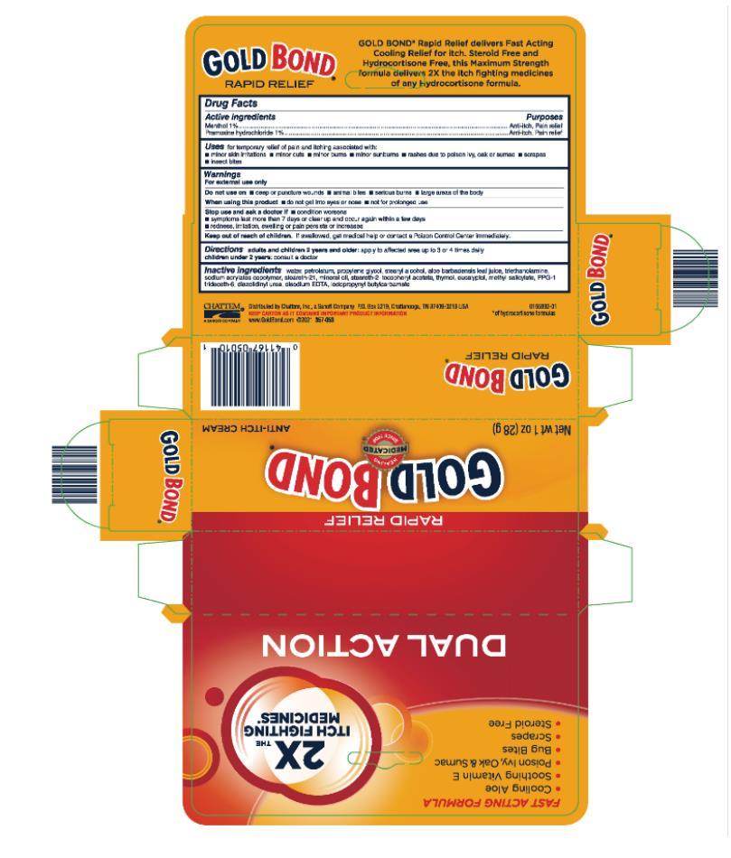 Gold Bond Anti Itch (Menthol And Pramoxine Hydrochloride) Cream [Chattem, Inc.]