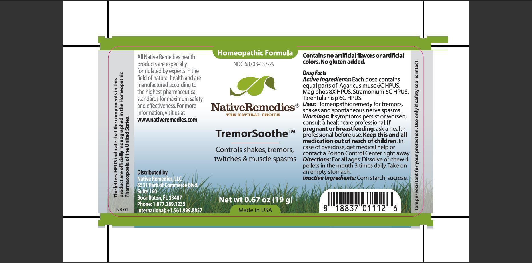 Tremorsoothe (Agaricus Musc, Mag Phos, Stramonium, Tarentula Hisp) Pellet [Native Remedies, Llc]
