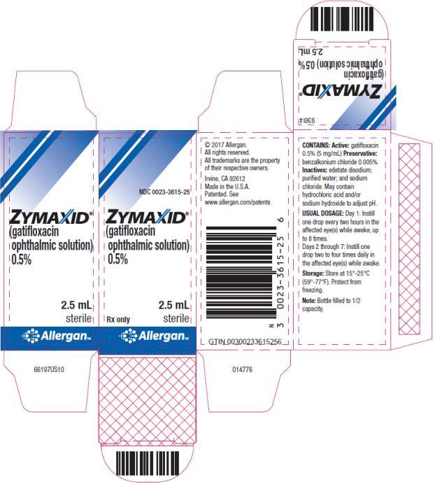 PRINCIPAL DISPLAY PANEL NDC 0023-3615-25 ZYMAXID (gatifloxacin ophthalmic solution) 0.5% 2.5 mL  Rx Only     Sterile