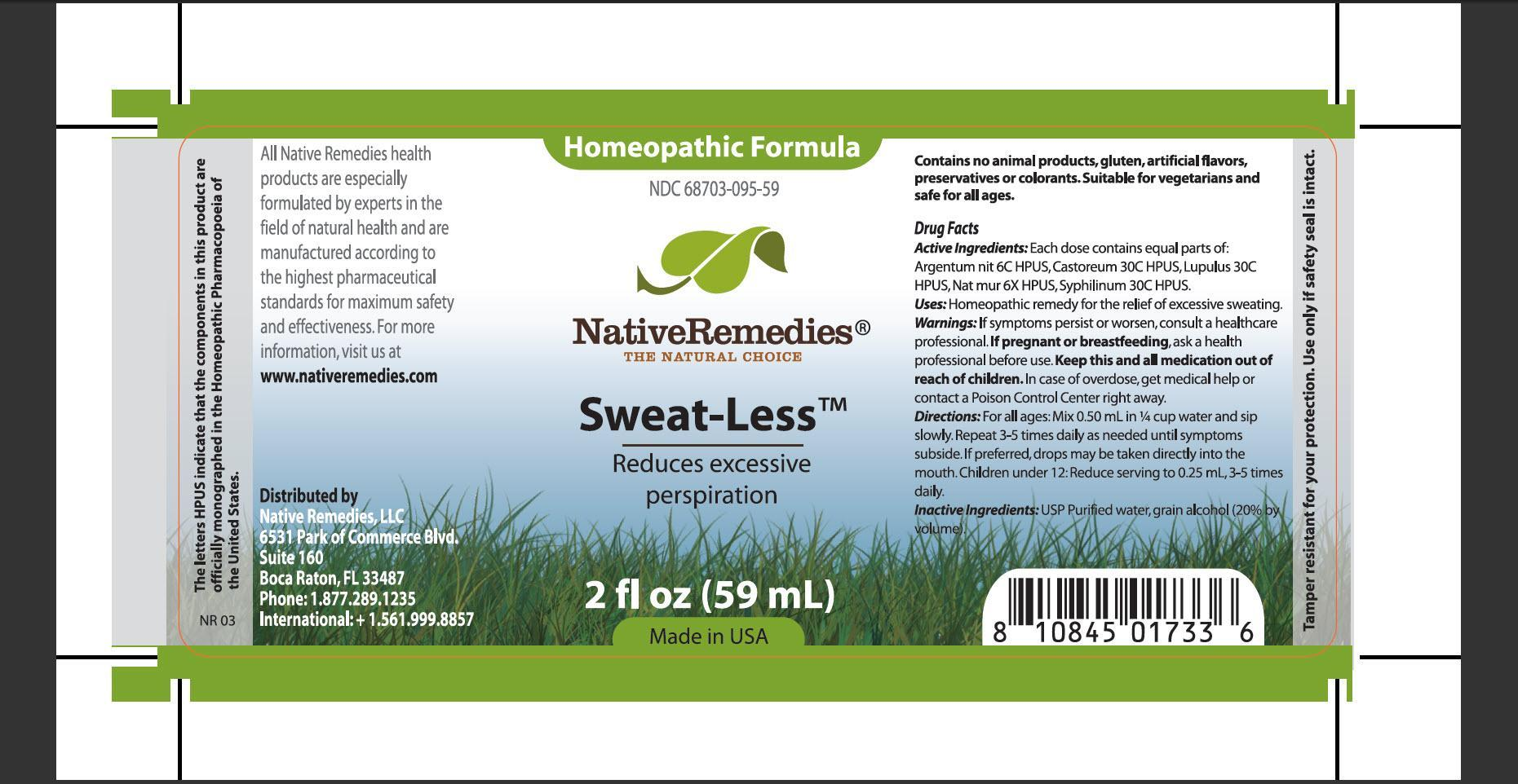Sweat Less (Argentum Nit, Castoreum, Lupulus, Nat Mur, Syphilinum) Tincture [Native Remedies, Llc]