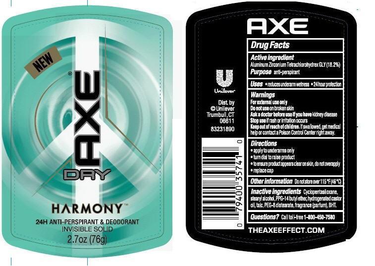 Axe Dry Harmony Antiperspirant Deodorant (Aluminum Zirconium Tetrachlorohydrex Gly) Stick [Conopco Inc. D/b/a Unilever]