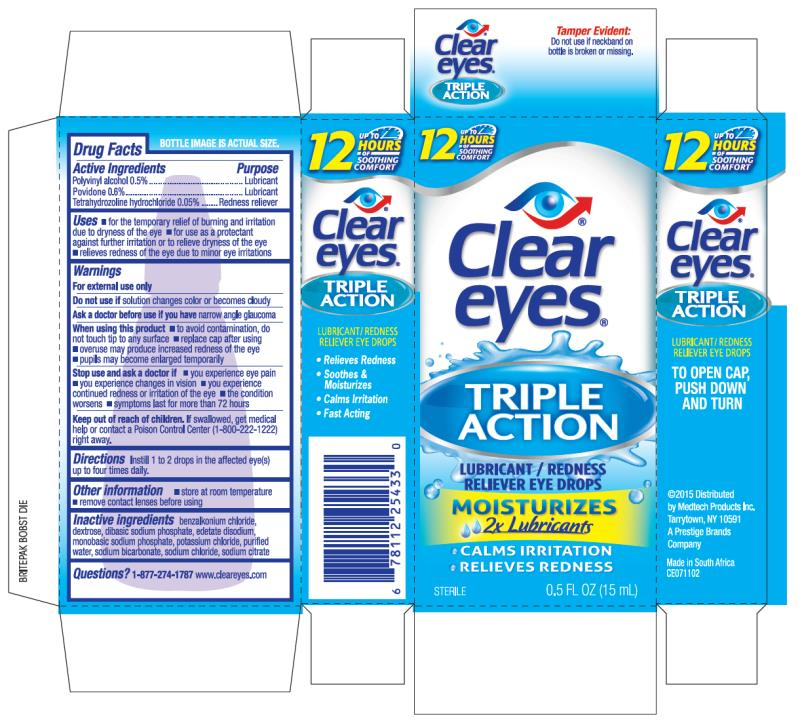Clear Eyes Triple Action (Polyvinyl Alcohol And Povidone And Tetrahydrozoline Hydrochloride) Liquid [Prestige Brands Holdings, Inc.]