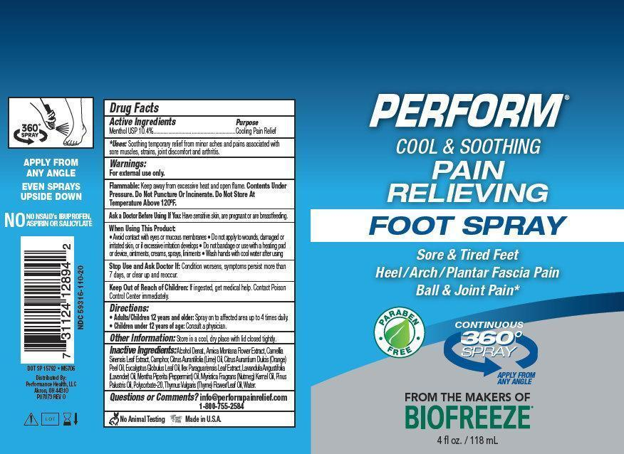 Perform Cool And Soothing Pain Relieving Foot (Menthol) Spray [Performance Health, Llc]