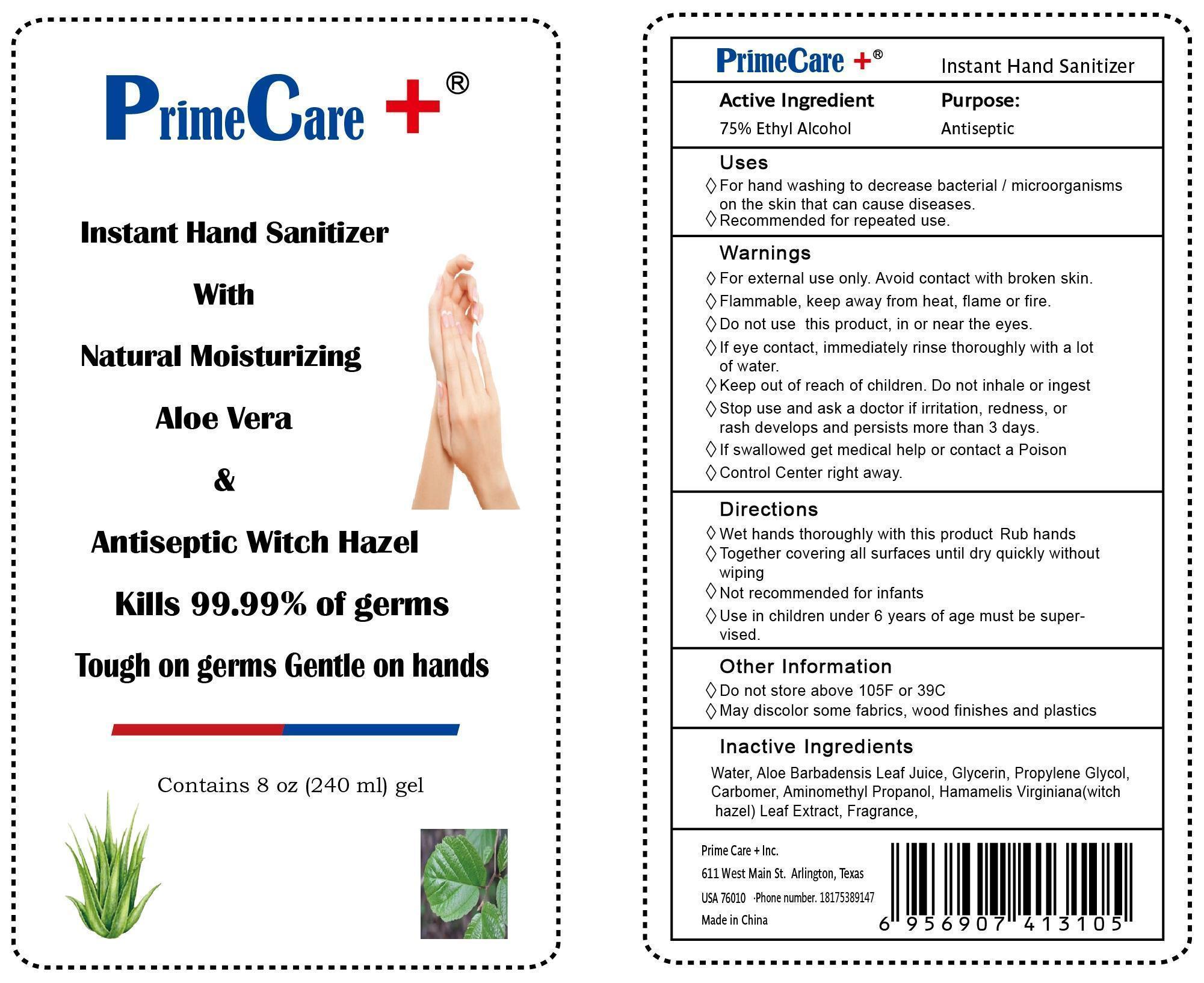 Instant Hand Sanitizer (Ethyl Alcohol) Gel [Primecare + Inc.]