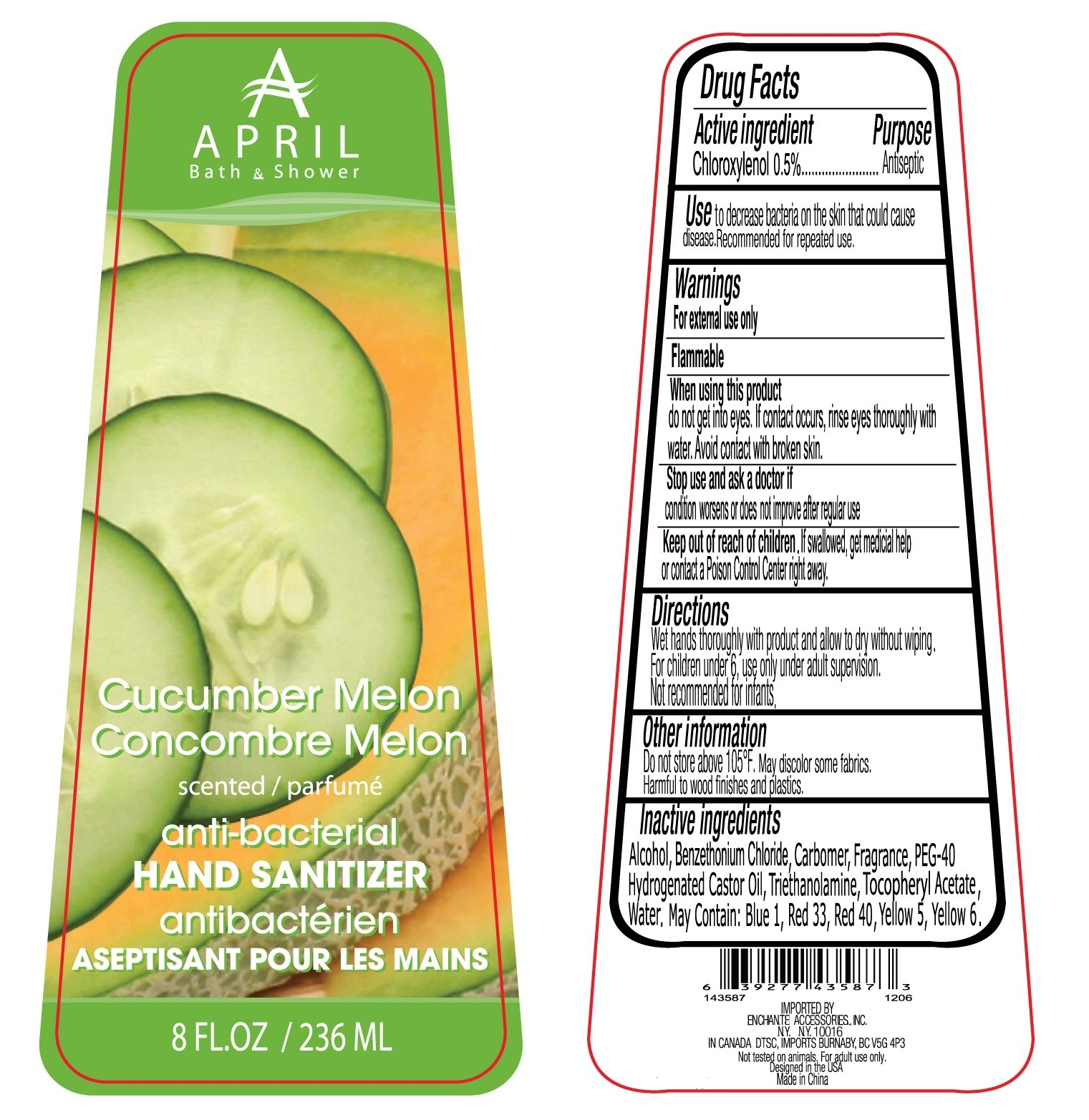 April Bath And Shower Cucumber Melon Scented Hand Sanitizer Anti-bacterial (Chloroxylenol) Liquid [Enchante Accessories Inc. ]