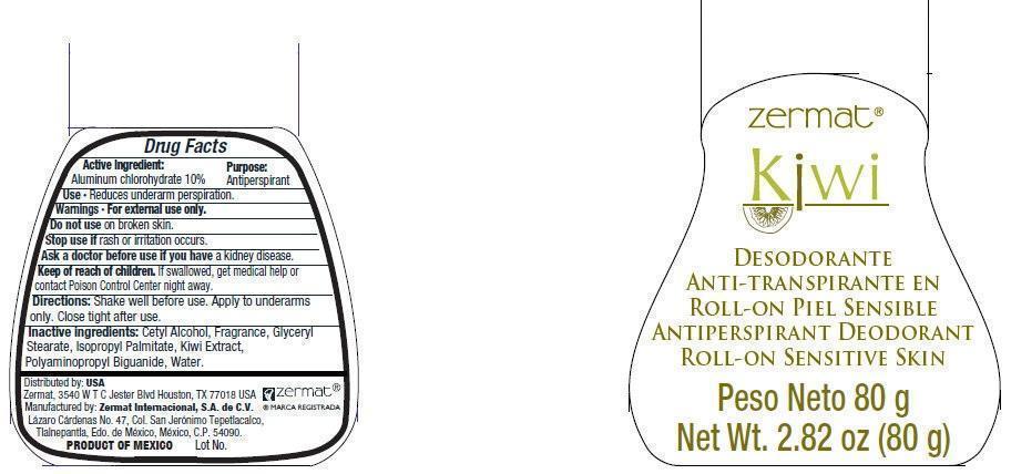 Zermat Kiwi Antiperspirant Deodorant Roll-on Sensitive Skin (Aluminum Chlorohydrate) Liquid [Zermat Internacional]