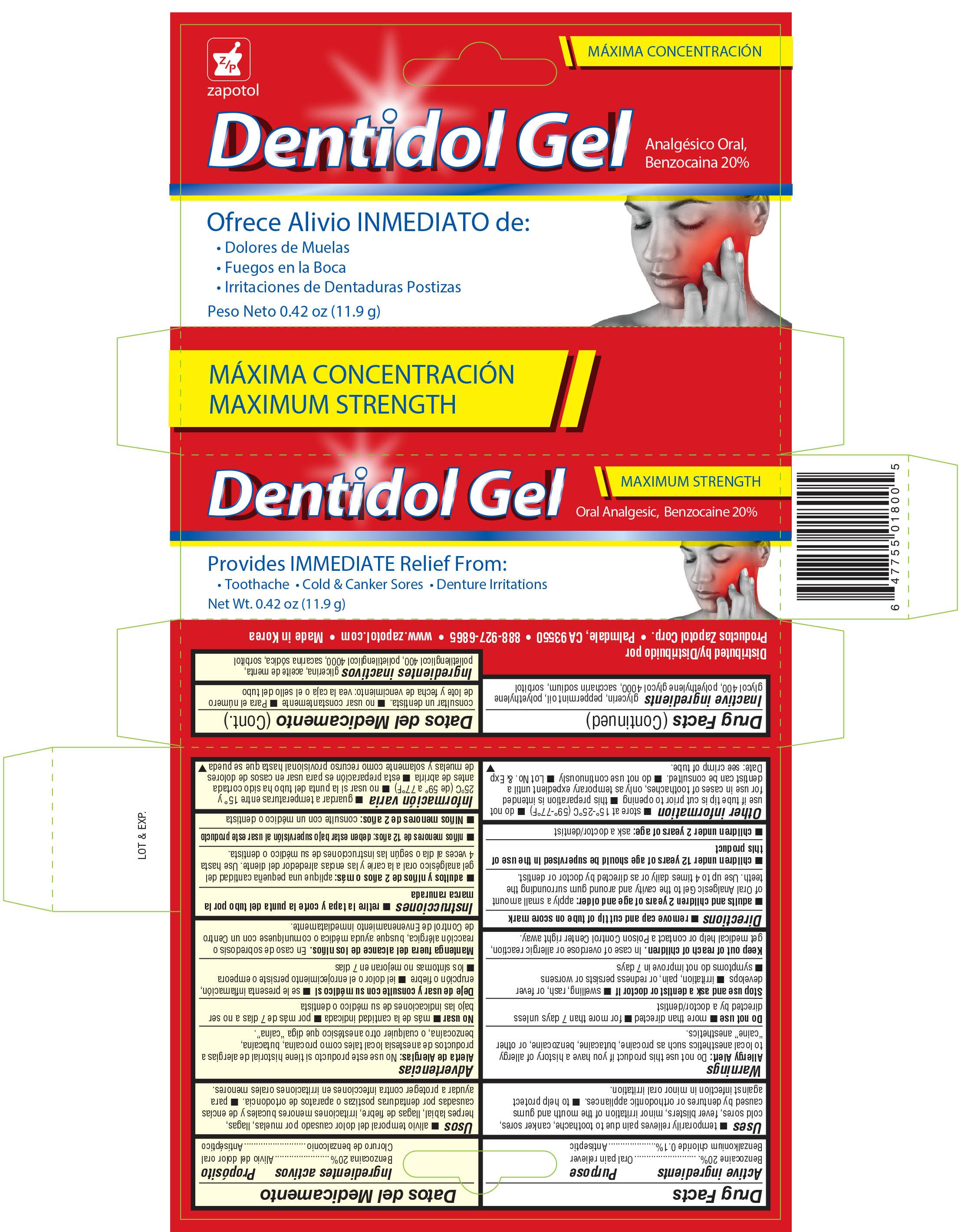 Zapotol Dentidol Oral Analgesic (Benzocaine, And Benzalkonium Chloride) Gel [Productos Zapotol Corp.]