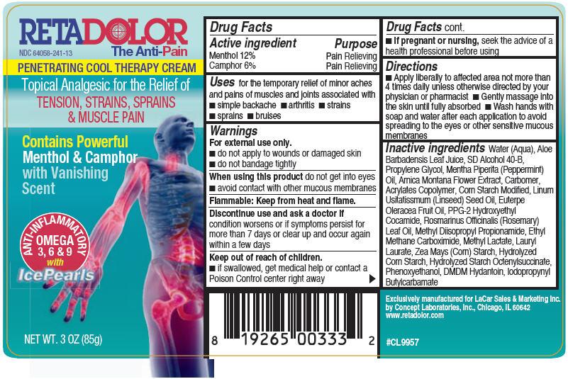 Retadolor (Menthol And Camphor (Synthetic)) Cream [Concept Laboratories, Inc.]