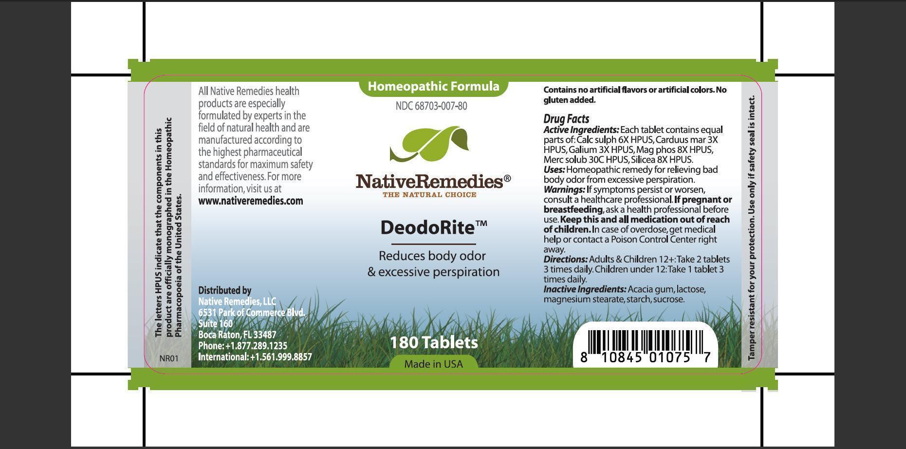 Deodorite (Calc Sulph, Carduus Mar, Galium, Mag Phos, Merc Solub, Silicea, Acacia Gum, Lactose, Magnesium Stearate, Starch, Sucrose) Tablet [Native Remedies Llc]