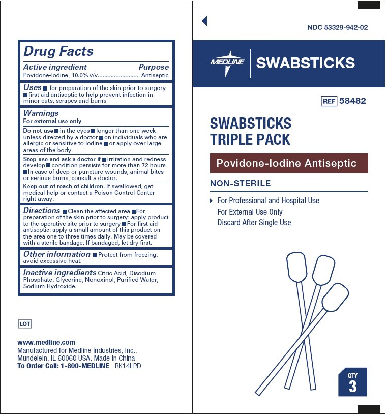 Swabsticks Triple Pack (Povidone-iodine) Swab [Medline Industries, Inc.]