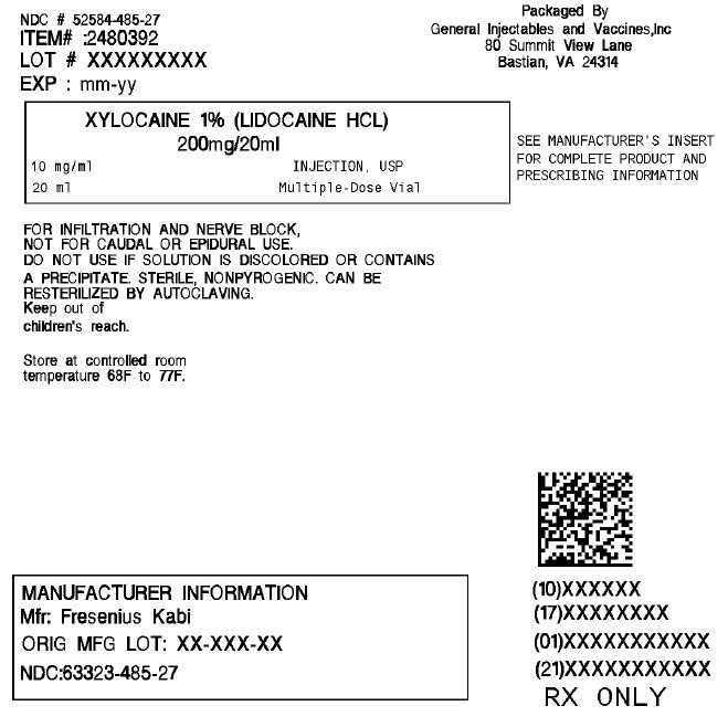 Xylocaine (Lidocaine Hydrochloride ) Injection, Solution [General Injectables & Vaccines, Inc]