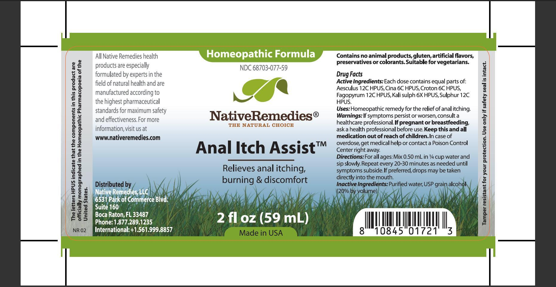 Anal Itch Assist (Aesculus, Cina, Croton, Fagopyrum, Kali Sulph, Sulphur) Tincture [Native Remedies, Llc]