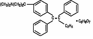 Structural formula for tamoxifen