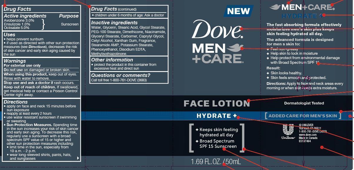 Dove Men Plus Care Hydrate Face Spf 15 (Avobenzone, Ensulizole, Octicsalate) Lotion [Conopco Inc. D/b/a Unilever]