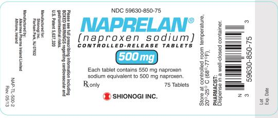 NDC 59630-850-75 NAPRELAN (naproxen sodium) CONTROLLED-RELEASED TABLETS 500 mg Rx only 75 Tablets SHIONOGI INC