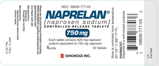 NDC 59630-777-03 NAPRELAN (naproxen sodium) CONTROLLED-RELEASED TABLETS 750 mg Rx only 30 Tablets SHIONOGI INC