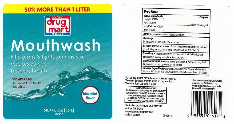 Discount Drug Mart Blue Mint Mouthwash (Eucalyptol, Menthol, Methyl Salicylate, Thymol) Liquid [Discount Dollar Mart]