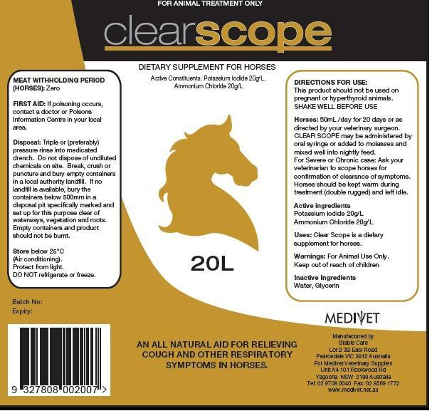 Clear Scope (Potassium Iodide And Ammonium Chloride) Solution [Medivet Pty Ltd]