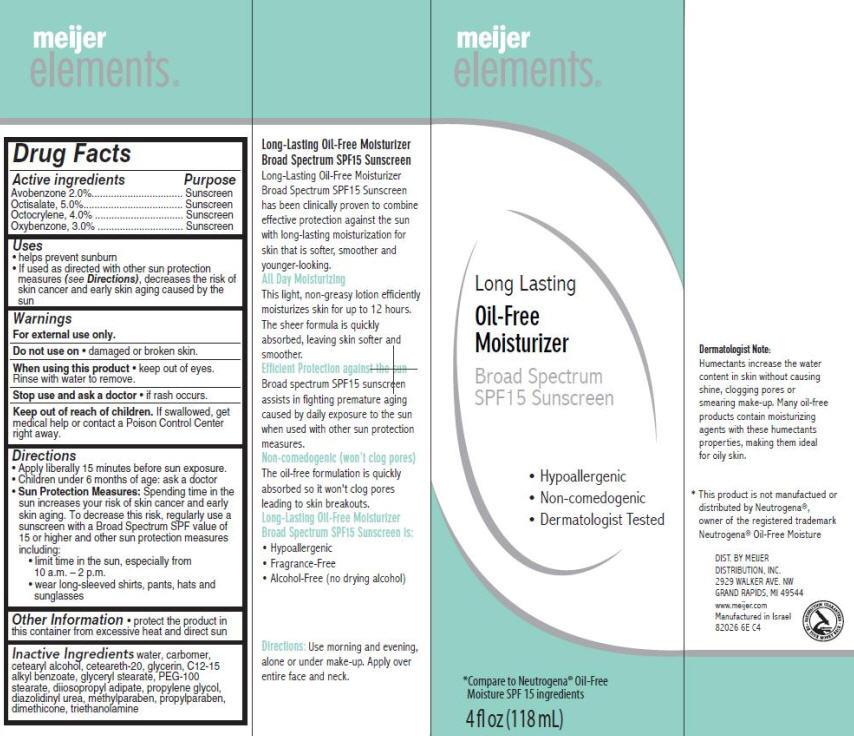 Meijer Elements Long-lasting Oil-free (Avobenzone, Octisalate, Octocrylene And Oxybenzone) Cream [Meijer Distribution Inc.]