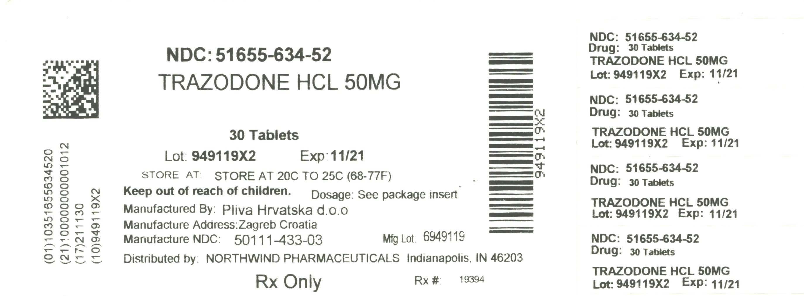 Trazodone Tablet [Northwind Pharmaceuticals, Llc]