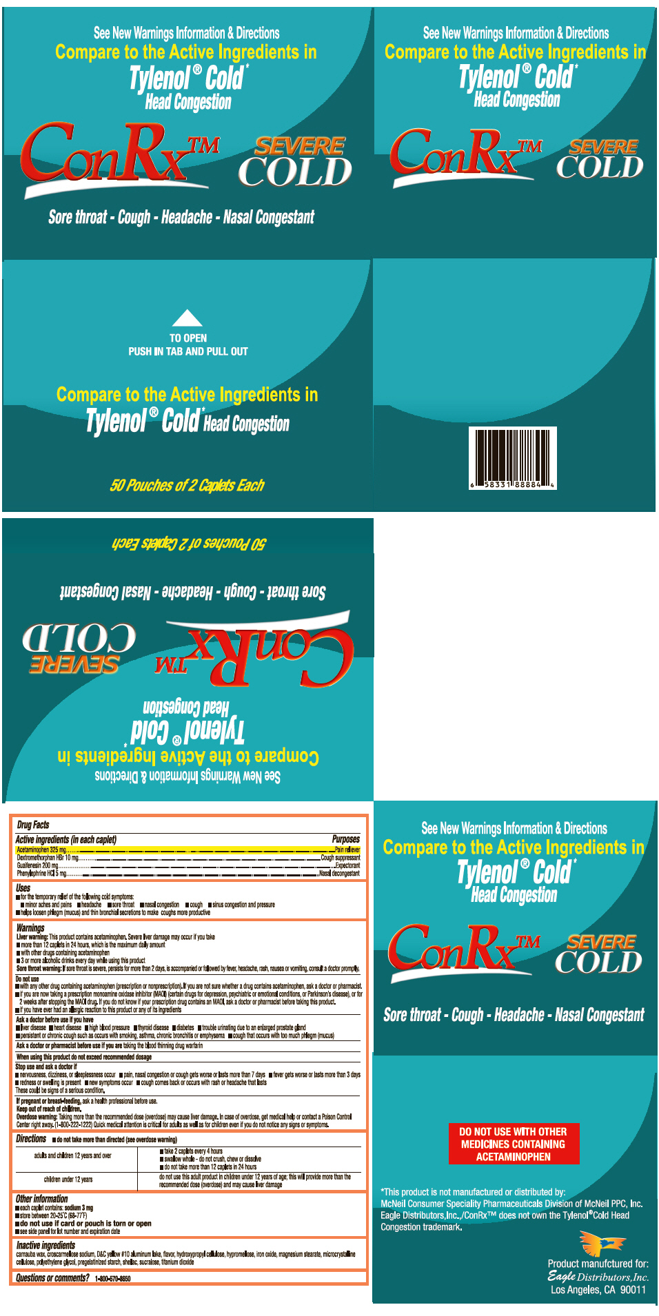 Conrx Cold (Acetaminophen, Dextromethorphan Hydrobromide, Guaifenesin, And Phenylephrine Hydrochloride) Tablet [Eagle Distributors,inc.]