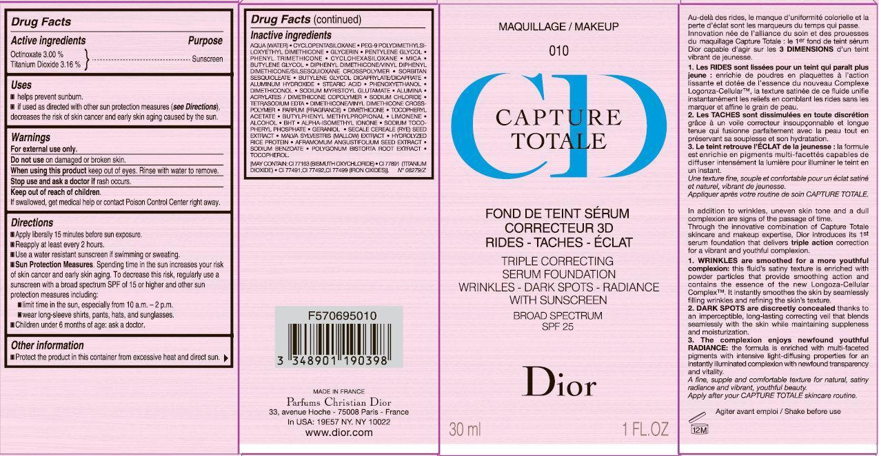 Cd Capture Totale Triple Correcting Serum Foundation Wrinkles-dark Spots-radiance With Sunscreen Broad Spectrum Spf 25 010 (Octinoxate, Titanium Dioxide) Cream [Parfums Christian Dior]