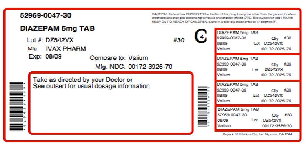 Gabavale-5 (Diazepam, Choline) Kit [Physician Therapeutics Llc]