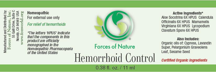 Hemorrhoid Control (Aloe, Calendula Officinalis Flowering Top, Hamamelis Virginiana Root Bark/stem Bark, And Lycopodium Clavatum Spore) Solution/ Drops [Forces Of Nature]