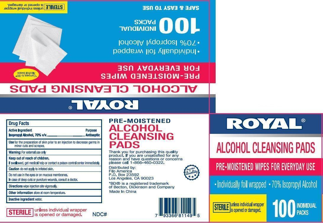 Royal Alcohol Cleansing Pads (Isopropyl Alcohol) Liquid [Filo America]